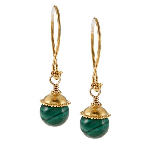 Lola's Jewelry Vermeil Malachite Hook Earrings
