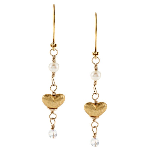 Charming Life Gold Overlay FW Pearl and Crystal Heart Earrings (4 mm)
