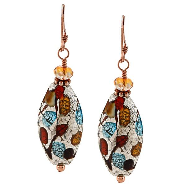 Lola's Jewelry Copper Fall's Suncrest Art Glass Hook Earrings