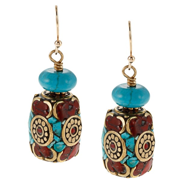 Charming Life Goldfill Tibetan Turquoise and Coral Barrel Hook Earrings