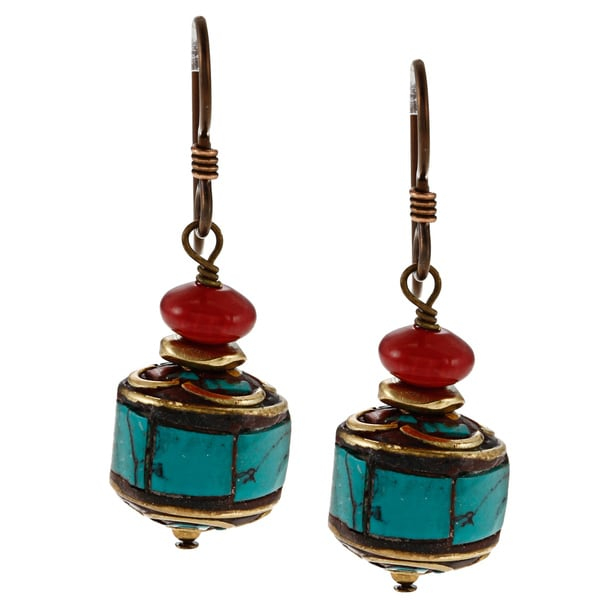 Lola's Jewelry Goldtone Tibetan Turquoise and Coral Rondelle Earrings