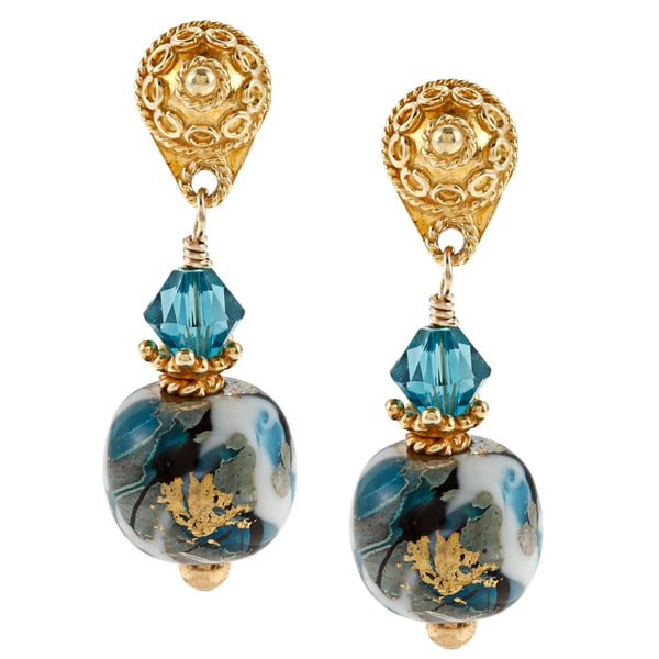 Lola's Jewelry 22k Vermeil Blue Moon Glass Post Earrings