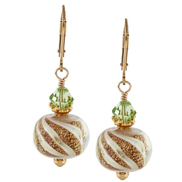 Lola's Jewelry 14k Goldfill Art Glass and Peridot Crystal Earrings