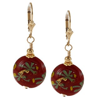 Charming Life 14k Goldfill Seasonal Deep Red Glass Earrings