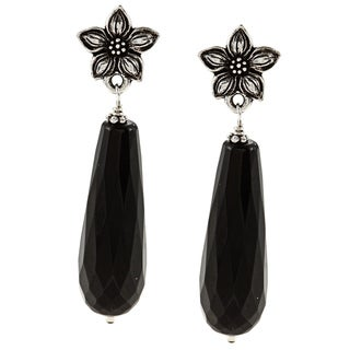Charming Life Pewter Black Onyx Teardrop Flower Post Earrings