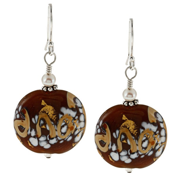 Charming Life Silver Brown Glass and FW Pearl Earrings (5 mm)