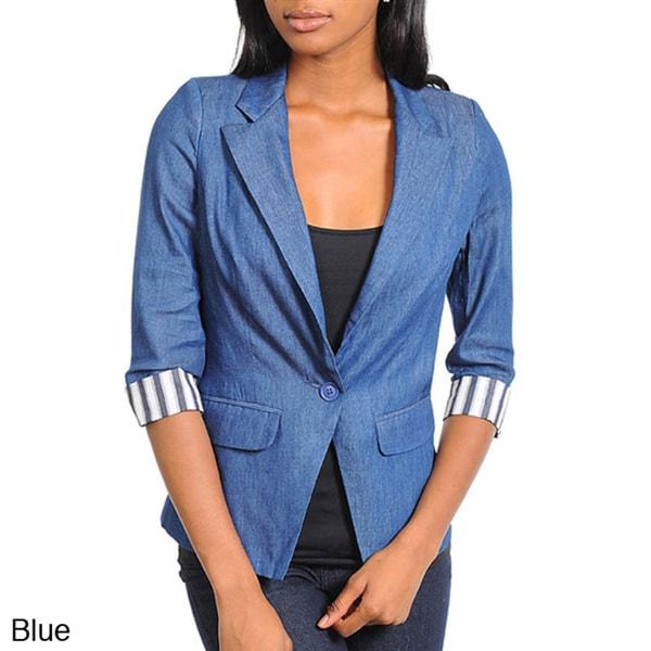 Stanzino Women's One Button Denim Blazer