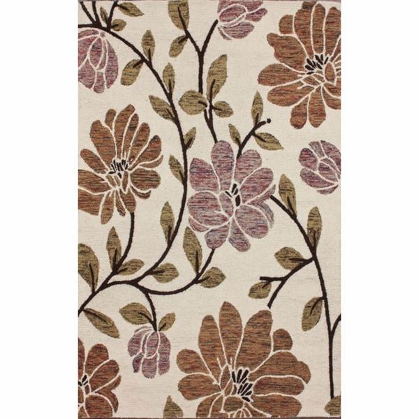 nuLOOM Handmade Ivory Floral Wool Rug