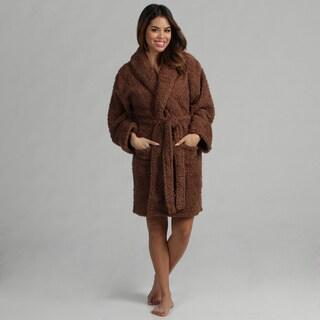 Aegean Apparel Women's Brown Sherpa Textured Plush Robe