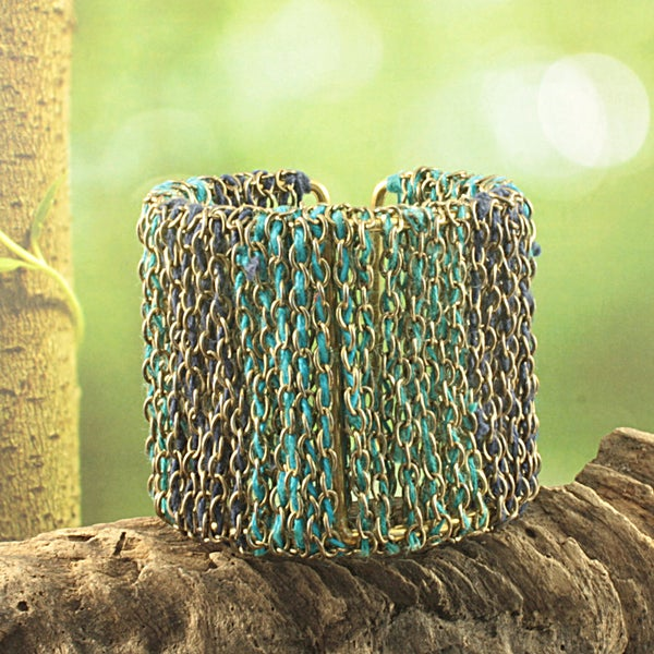 Handcrafted Wide Teal Threaded Chain Cuff Bracelet (India)