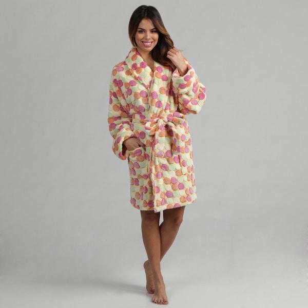 Aegean Apparel Women's Pom Pom Jacquard Plush Robe