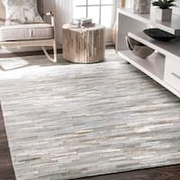 nuLOOM Handmade Natural Patchwork Cowhide Leather Rug - 7'6 x 9'6