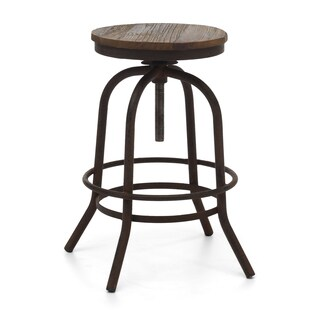 Twin Peaks Distressed Natural Metal and Wood Counter Stool
