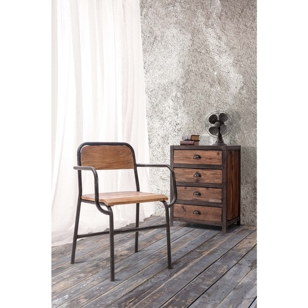 West Portal Industrial Distressed Wood and Metal Dining Chair