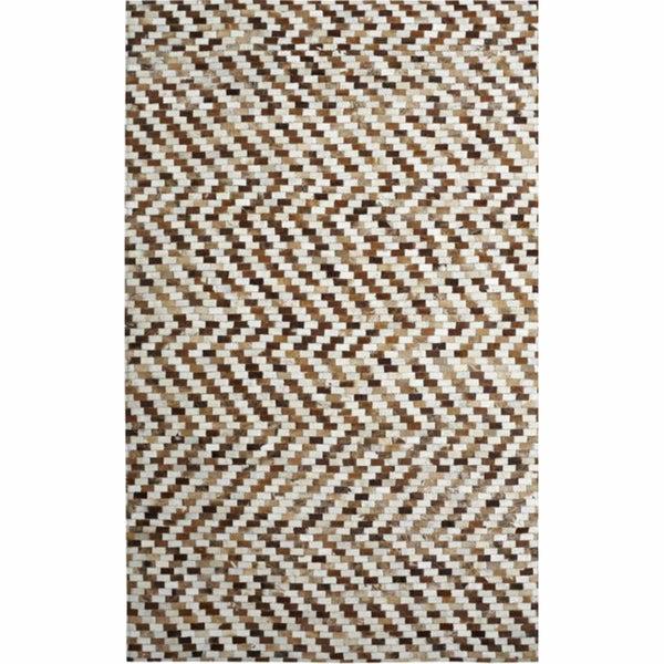 nuLOOM Handmade Geometric Cowhide Leather Rug