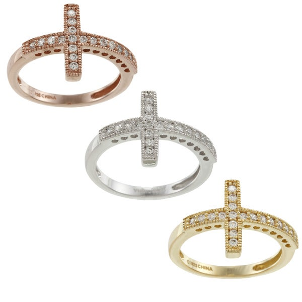 La Preciosa Sterling Silver Cubic Zirconia Sideways Cross Ring