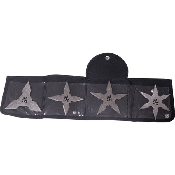 Master Cutlery Fantasy Master 4-piece 4-inch Throwing Stars with Nylon Carry Pouch