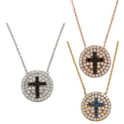 La Preciosa Sterling Silver CZ Two-tone Cross Circle Necklace