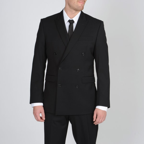Calvin Klein Men's Black Double Breasted Wool Suit