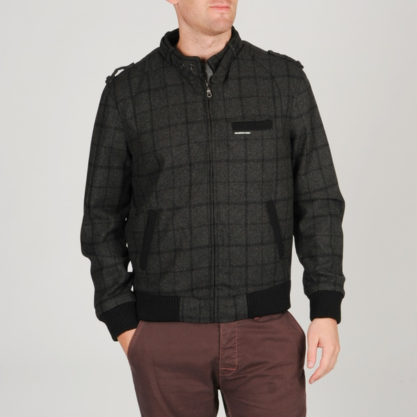 Members Only Men's 'Box' Charcoal Plaid Racer Jacket