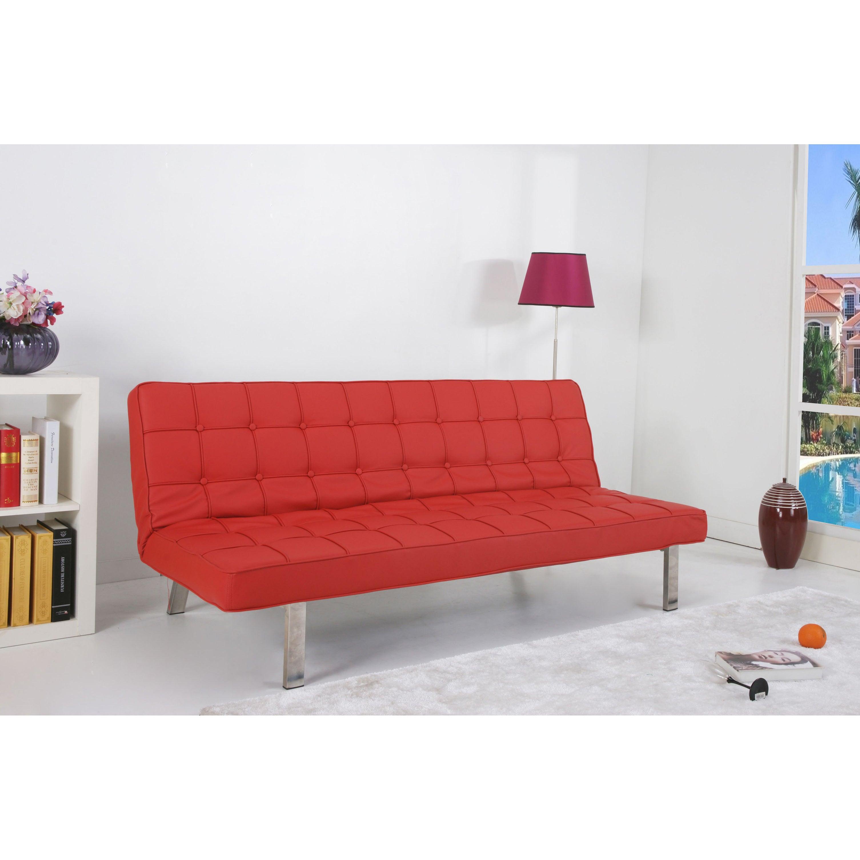 \'Vegas\' Red Futon Sofa Bed