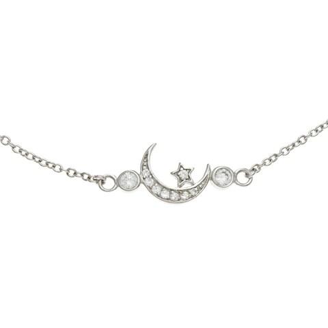 La Preciosa Sterling Silver CZ Star and Crescent Moon Necklace