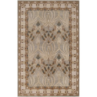 Hand-tufted Grey Floral Clarendon New Zealand Wool Rug