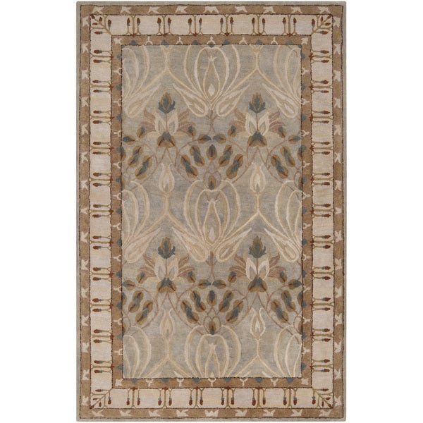 Hand-tufted Grey Floral Clarendon New Zealand Wool Area Rug (2' x 3')