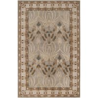 Hand-tufted Grey Floral Clarendon New Zealand Wool Area Rug