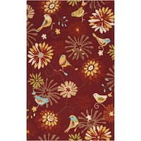 Hand-hooked Gatesville Red Indoor/Outdoor Floral Area Rug (2' x 3')