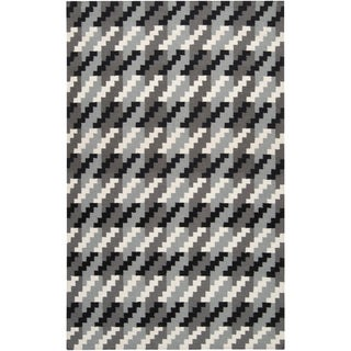 Hand-woven Tolleson Houndstooth Grey Wool Rug