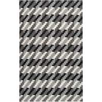 Hand-woven Tolleson Houndstooth Grey Wool Area Rug