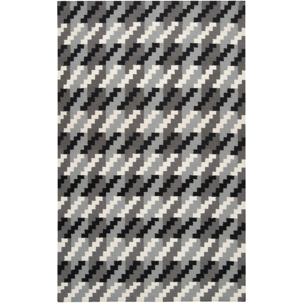 Hand-woven Tolleson Houndstooth Grey Wool Area Rug (2' x 3')