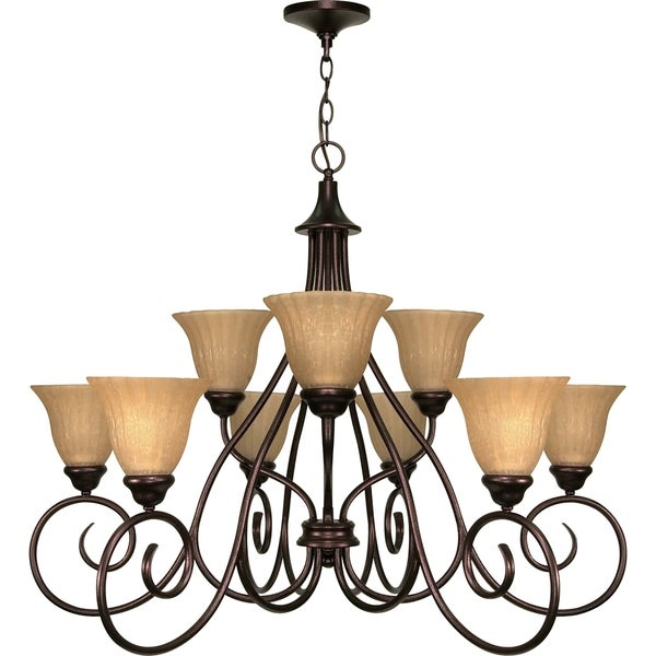Nuvo 'Moulan' 9-light Copper Bronze Chandelier