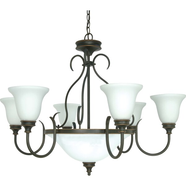 Nuvo 'Bistro' 9-light Rustic Bronze Chandelier