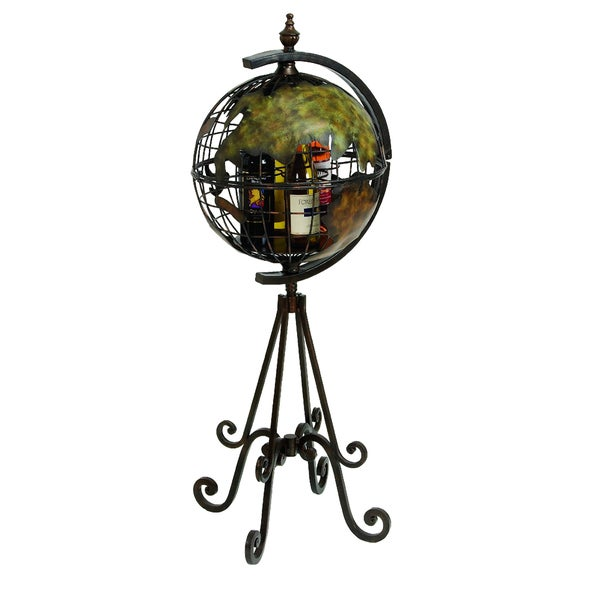 Napa Vive Handcrafted Floor Metal Globe Bar Wine Holder