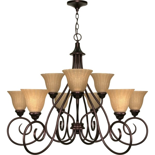 Nuvo 'Moulan' 9-light Fluorescent Copper Bronze Chandelier
