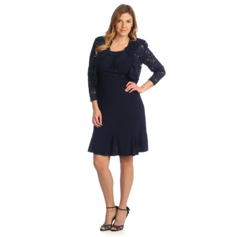 R & M Richards Women's Two-Piece Sleeveless Evening Dress