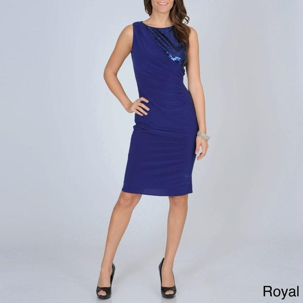 R & M Richards Women's Sequin-embellished Jersey Knit Dress