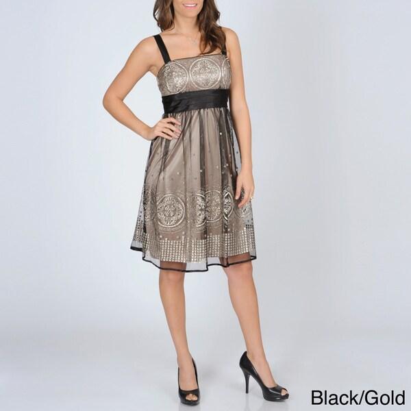 R & M Richards Women's Mesh Overlay Party Dress