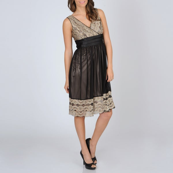 R & M Richards Women's Lace Trim Party Dress