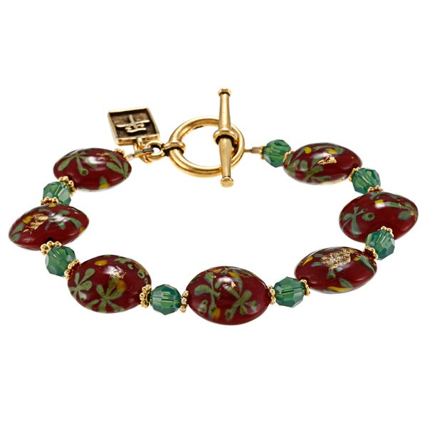 Charming Life Goldplated Deep Red Glass Chinese 'Peace' Charm Bracelet