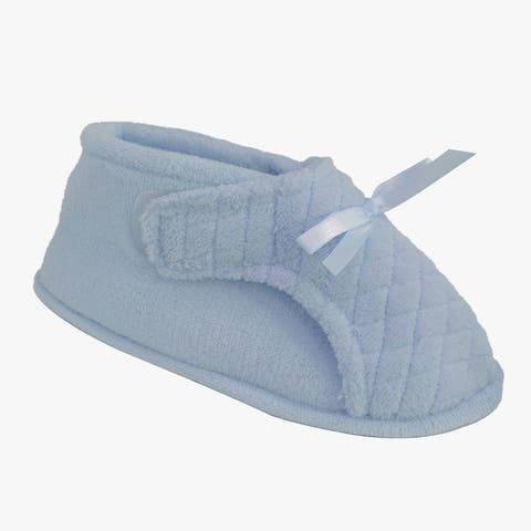 Muk Luks Womens Blue Micro-chenille Adjustable Slippers