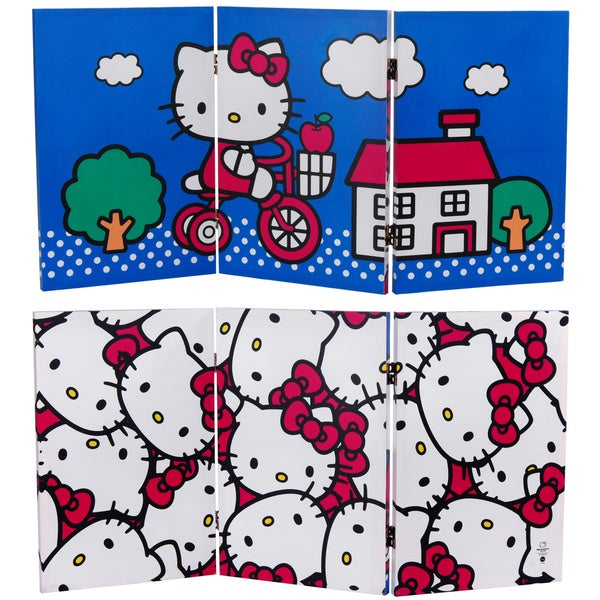 Two-Foot Tall Double Sided 'Hello Kitty Bicycle' Canvas Room Divider