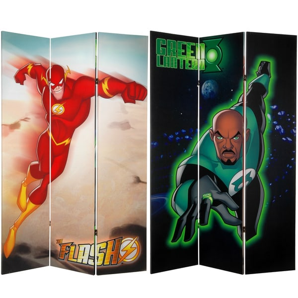 Six-Foot Tall Double Sided 'Green Lantern and The Flash' Canvas Room Divider