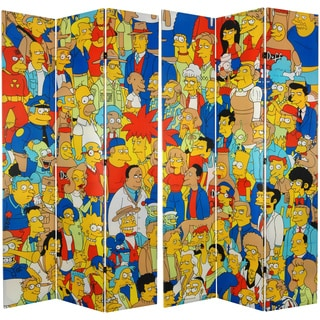 Six-Feet Tall Double Sided 'Simpsons Cast' Canvas Room Divider