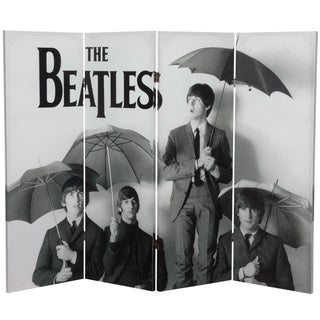 Four-Foot Tall Double-Sided 'The Beatles Umbrellas' Canvas Room Divider