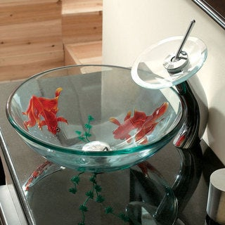 CAE Tempered Glass Bathroom Sink and Faucet