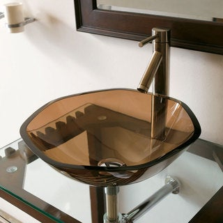 CAE Tempered Glass Vessel Sink with Faucet Set