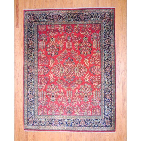 "Indo Traditional Hand-Knotted Sarouk Red/Navy Wool Rug (8'9"" x 11'8"")"